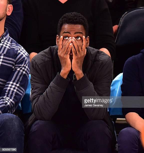 Chris Rock attends The Philadelphia 76ers vs New York Knicks game at Madison Square Garden on January 18 2016 in New York City