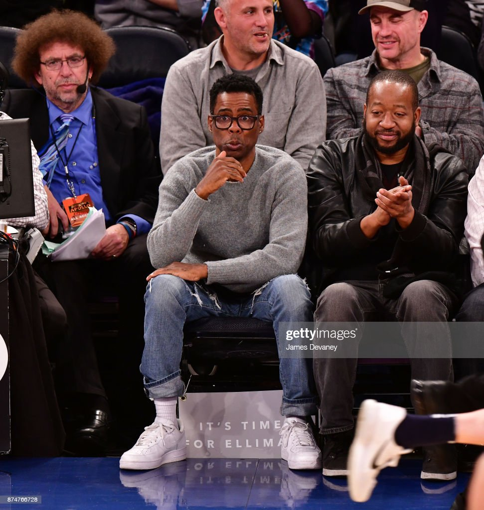 Chris Rock looked a little nervous sitting courtside at the Knicks vs. Jazz game at MSG on Wednesday.
