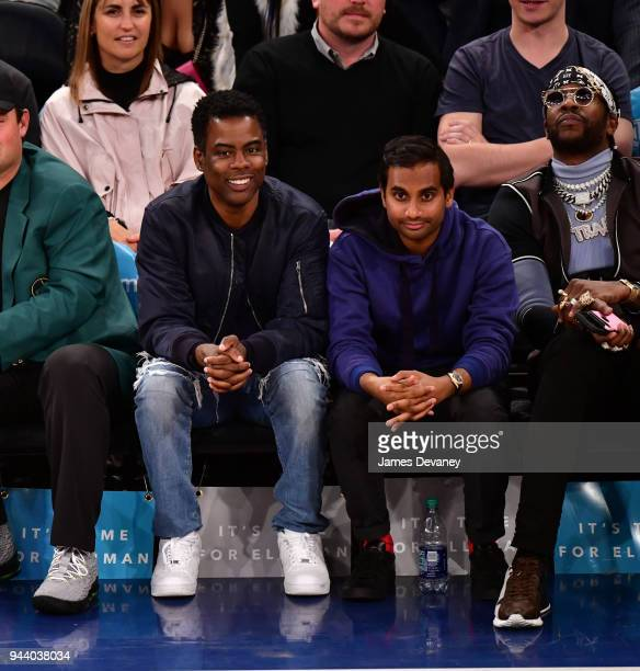 Chris Rock Aziz Ansari and 2Chainz attend New York Knicks Vs Cleveland Cavaliers at Madison Square Garden on April 9 2018 in New York City