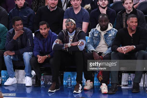 Chris Rock Aziz Ansari and rapper 2 Chainz attend the game between the Cleveland Cavaliers and the New York Knicks at Madison Square Garden on April...