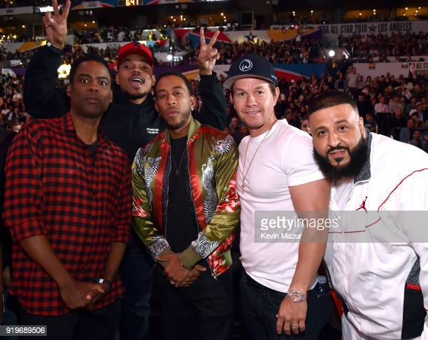 Chris Rock Chance The Rapper Ludacris Mark Wahlberg and DJ Khaled attend the 2018 State Farm AllStar Saturday Night at Staples Center on February 17...
