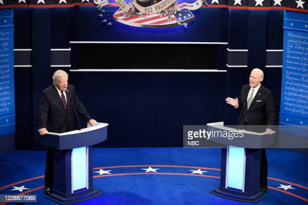 LIVE Chris Rock Episode 1786 Pictured Alec Baldwin as Donald Trump and Jim Carrey as Joe Biden during the First Debate Cold Open on Saturday October...