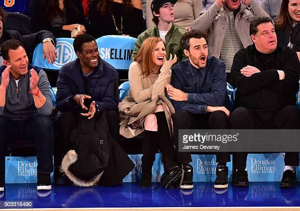 Chris Rock Jessica Chastain Gian Luca Passi de Preposulo and Steve Schirripa attend the Atlanta Hawks vs New York Knicks game at Madison Square...