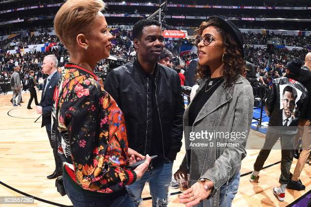 Chris Rock looks on during the NBA AllStar Game as a part of 2018 NBA AllStar Weekend at STAPLES Center on February 18 2018 in Los Angeles California...