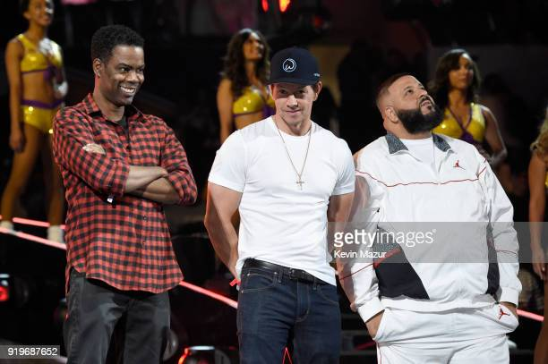 Chris Rock Mark Wahlberg and DJ Khaled attend the 2018 State Farm AllStar Saturday Night at Staples Center on February 17 2018 in Los Angeles...