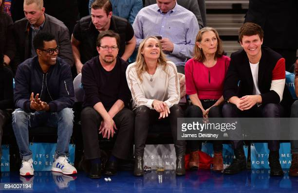 Chris Rock Michael J Fox Tracy Pollan Grethe Holby and Ansel Elgort attend the Oklahoma City Thunder Vs New York Knicks game at Madison Square Garden...