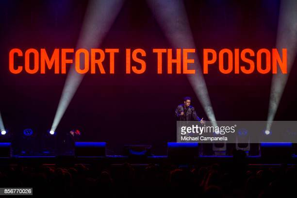 Chris Rock performs live during his Total Blackout Tour at the Ericsson Globe Arena on October 2 2017 in Stockholm Sweden