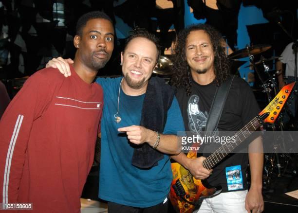 Chris Rock with Lars Ulrich and Kirk Hammett of Metallica