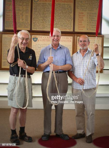Chris Rogers Left), Clarke Walters and Alan Frost from The Westminster Abbey Company of Ringers, prepare sound out a full peal of 5000 changes known...