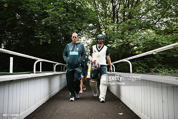 Chris Rogers of Australia and Australian Team Doctor Peter Brukner walk from the nets during a nets session ahead of the 3rd Investec Ashes Test...