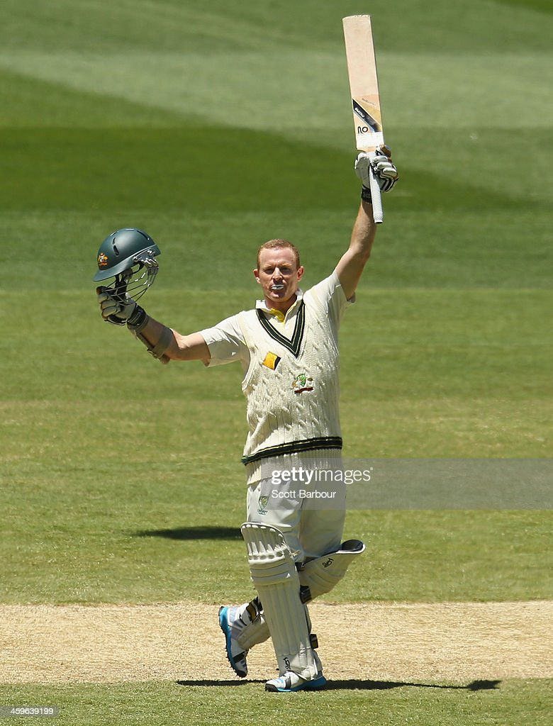 Chris Rogers of Australia celebrates as he reaches his century during day four of the Fourth Ashes Test Match between Australia and England at Melbourne Cricket Ground on December 29, 2013 in Melbourne, Australia.