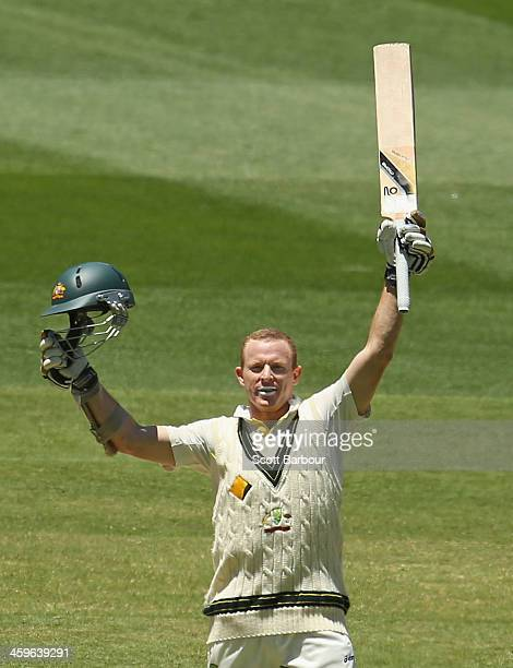Chris Rogers of Australia celebrates as he reaches his century during day four of the Fourth Ashes Test Match between Australia and England at...