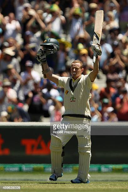 Chris Rogers of Australia celebrates his century during day four of the Fourth Ashes Test Match between Australia and England at Melbourne Cricket...