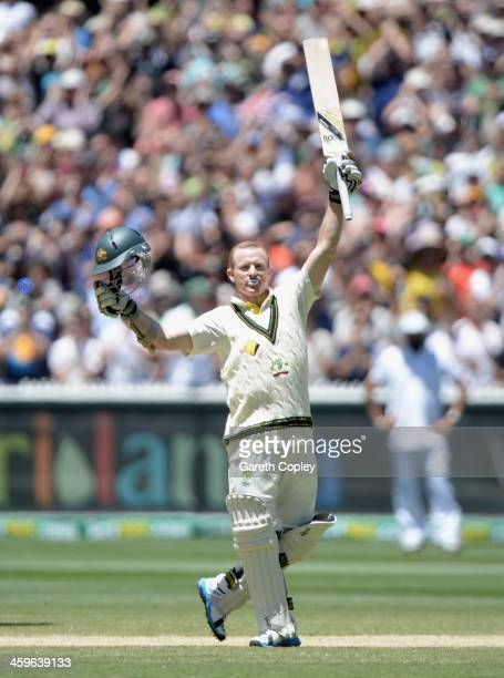 Chris Rogers of Australia celebrates reaching his century during day four of the Fourth Ashes Test Match between Australia and England at Melbourne...