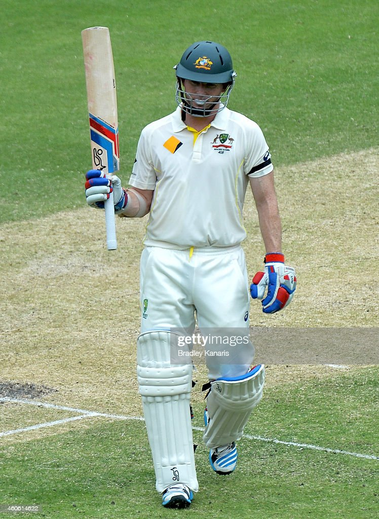 Chris Rogers of Australia celebrates scoring a half century during day two of the 2nd Test match between Australia and India at The Gabba on December 18, 2014 in Brisbane, Australia.