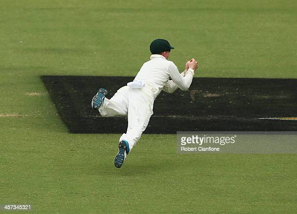 Chris Rogers of Australia dives to take a catch to dismiss Tim Bresnan of England during day five of the Third Ashes Test Match between Australia and...