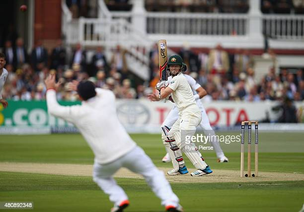 Chris Rogers of Australia edges over the slips during day one of the 2nd Investec Ashes Test match between England and Australia at Lord's Cricket...