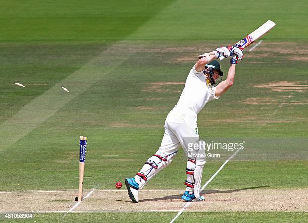 Chris Rogers of Australia is bowled out during day two of the 2nd Investec Ashes Test match between England and Australia at Lord's Cricket Ground on...