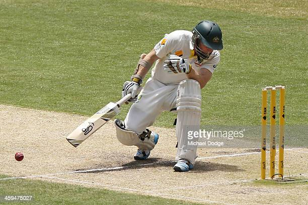 Chris Rogers of Australia is hit in the head by Stuart Broad of England during day two of the Fourth Ashes Test Match between Australia and England...