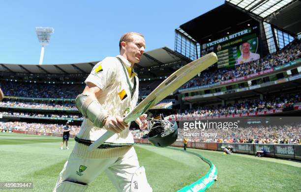 Chris Rogers of Australia leaves the field after making 116 runs during day four of the Fourth Ashes Test Match between Australia and England at...