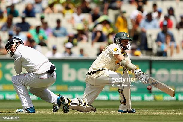 Chris Rogers of Australia plays a shot during day four of the Fourth Ashes Test Match between Australia and England at Melbourne Cricket Ground on...