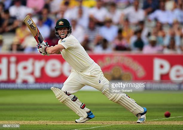 Chris Rogers of Australia plays a shot during day one of the 2nd Investec Ashes Test match between England and Australia at Lord's Cricket Ground on...