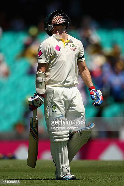 Chris Rogers of Australia reacts after being dismissed by Mohammed Shami of India during day one of the Fourth Test match between Australia and India...
