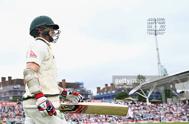 Chris Rogers of Australia walks out to bat during day one of the 5th Investec Ashes Test match between England and Australia at The Kia Oval on...