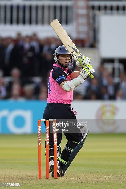 Chris Rogers of Middlesex hits out during the Friends Life t20 match between Middlesex and Essex at Lord's Cricket Ground on June 9 2011 in London...
