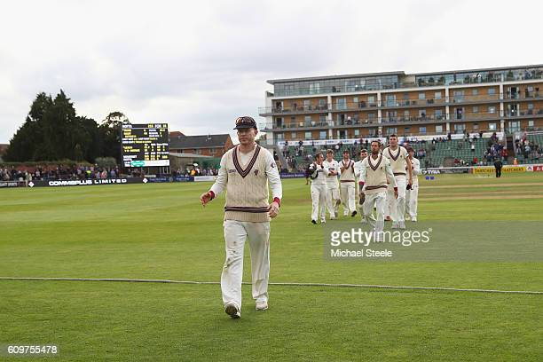 Chris Rogers the captain of Somerset and playing possibly his final first class game walks off ahead of his team concluding his sides 325 run victory...