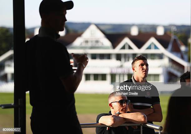 Chris Rogers the captain of Somerset looks on at the television screen alongsideCraig Overton as Middlesex take the final wicket to clinch the title...