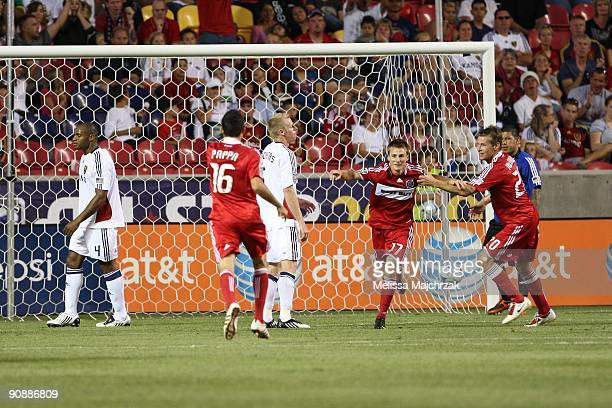 Chris Rolfe of Chicago Fire celebrates after kicking the goal against the Real Salt Lake at Rio Tinto Stadium on September 12 2009 in Sandy Utah