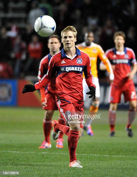 Chris Rolfe of Chicago Fire goes after the ball against the Houston Dynamo in an MLS match on October 31 2012 at Toyota Park in Bridgeview Illinois...