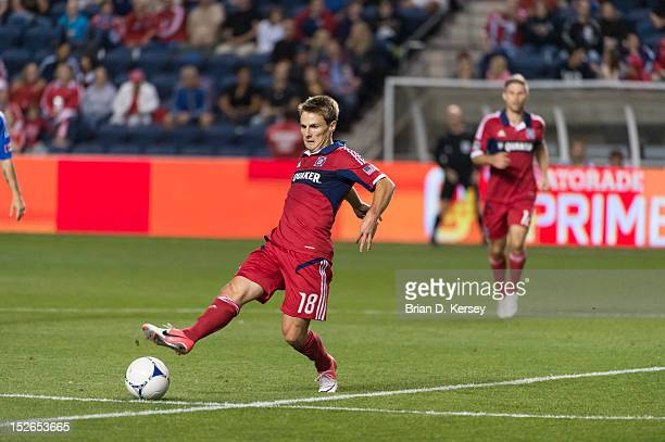 Chris Rolfe of Chicago Fire kicks the ball against the Montreal Impact at Toyota Park on September 15 2012 in Bridgeview Illinois The Fire defeated...