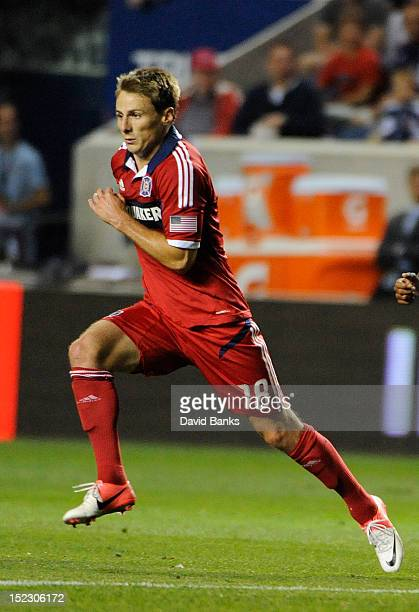 Chris Rolfe of Chicago Fire runs after the ball against the Montreal Impact in an MLS match on September 15 2012 at Toyota Park in Bridgeview Illinois