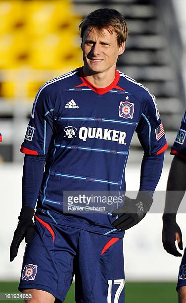 Chris Rolfe of the Chicago Fire before their game against the Houston Dynamo at Blackbaud Stadium on February 16 2013 in Charleston South Carolina