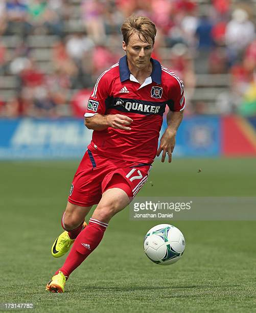Chris Rolfe of the Chicago Fire chases the ball against Sporting Kansas City during an MLS match at Toyota Park on July 7 2013 in Bridgeview Illinois...
