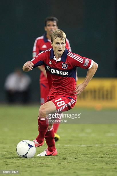 Chris Rolfe of the Chicago Fire controls the ball against DC United at RFK Stadium on August 22 2012 in Washington DC DC United won 40