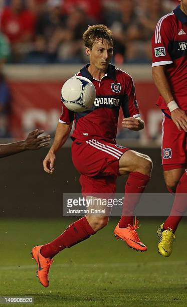 Chris Rolfe of the Chicago Fire controls the ball against Toronto FC during an MLS match at Toyota Park on August 4 2012 in Bridgeview Illinois The...