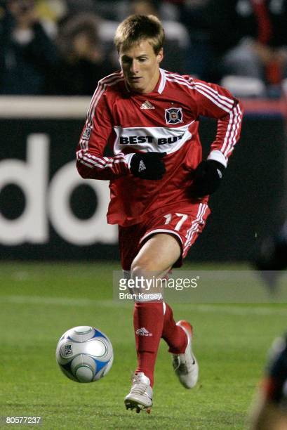 Chris Rolfe of the Chicago Fire in action during the first half against the the New England Revolution at Toyota Park on April 3 2008 in Bridgeview...