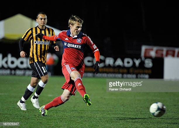 Chris Rolfe of the Chicago Fire makes a pass against the Charleston Battery during the first half of a game at Blackbaud Stadium on February 20 2013...