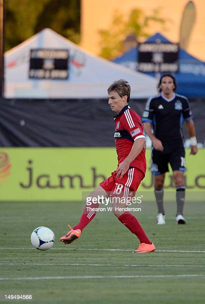 Chris Rolfe of the Chicago Fire makes a pass to a teammate against the San Jose Earthquakes at Buck Shaw Stadium on July 28 2012 in Santa Clara...