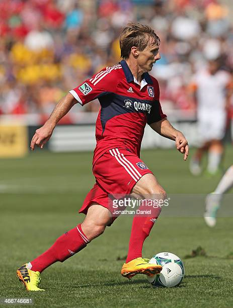 Chris Rolfe of the Chicago Fire moves against the Houston Dynamo during an MLS match at Toyota Park on September 1 2013 in Bridgeview Illinois The...
