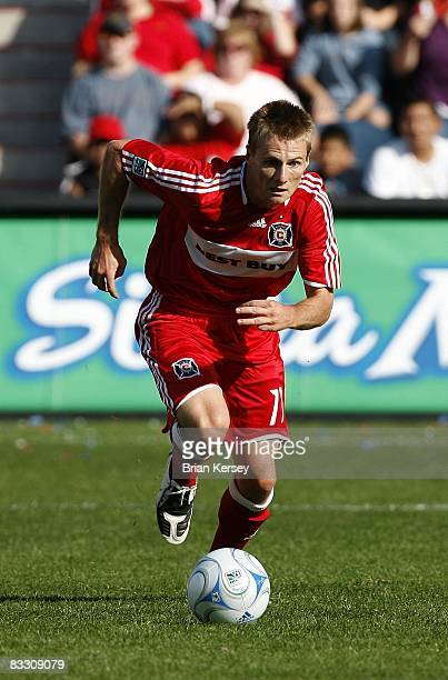 Chris Rolfe of the Chicago Fire moves the ball against the Columbus Crew during the second half at Toyota Park on October 12 2008 in Bridgeview...