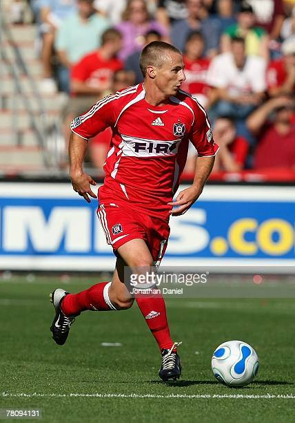 Chris Rolfe of the Chicago Fire moves the ball through midfield on the attack against the Los Angeles Galaxy during their MLS match on October 21...