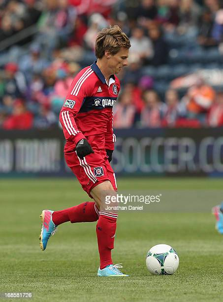 Chris Rolfe of the Chicago Fire moves up the field against the Philadelphia Union during an MLS match at Toyota Park on May 11 2013 in Bridgeview...