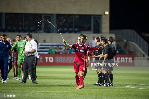 Chris Rolfe of the Chicago Fire stands on the field after the game against the Columbus Crew at Toyota Park on June 23 2012 in Bridgeview Illinois...