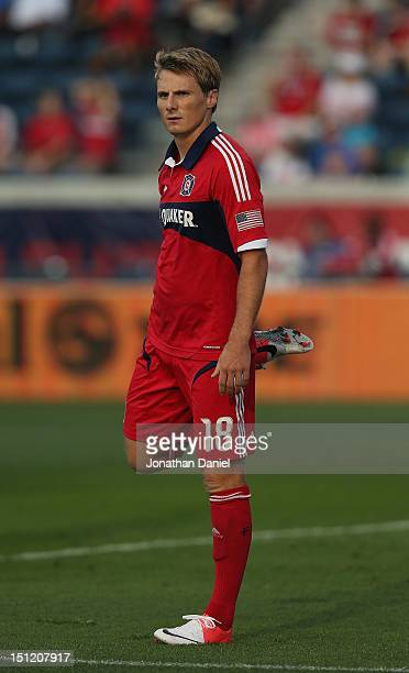 Chris Rolfe of the Chicago Fire stretches his leg against the Houston Dynamo during an MLS match at Toyota Park on September 2 2012 in Bridgeview...