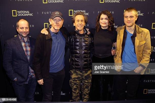 """Chris Rosen, Ron Howard, Brian Grazer, Samantha Colley and Johnny Flynn attend the Genius Panel at the """"Nat Geo Further Base Camp"""" during day 3 of..."""