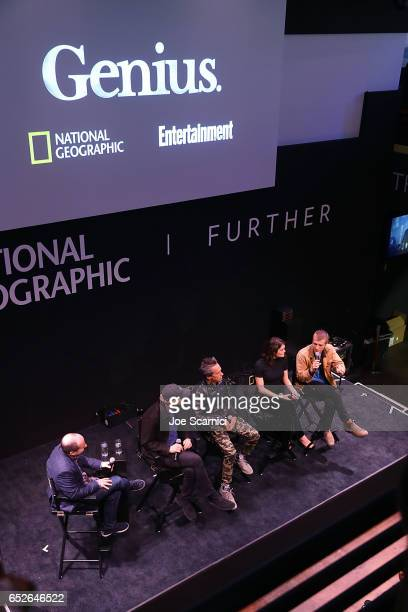 """Chris Rosen, Ron Howard, Brian Grazer, Samantha Colley and Johnny Flynn speak onstage at the Genius Panel at the """"Nat Geo Further Base Camp"""" during..."""